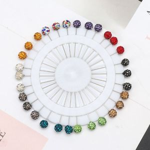 Image 2 - 30 adet Müslüman Başörtüsü Eşarp Emniyet Pimleri Kristaller Topu Broş Düz Kafa Pimleri