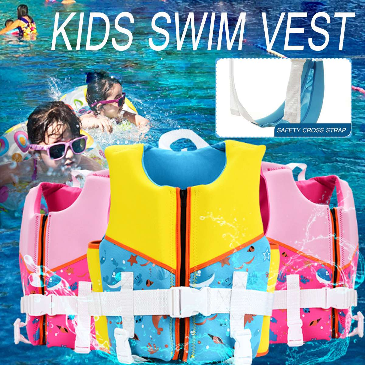 Children Life Vest Girls Jacket Boy Swimsuit Swimming Life Jacket for Water Sports Surfing Floating Kids Baby Safety Vest