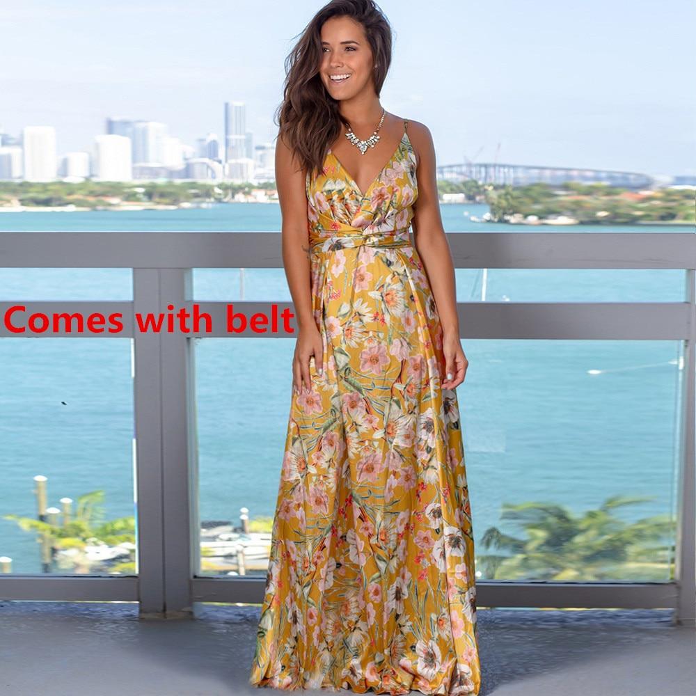 Ladies Print Floral Long Boho Bohemian Beach Summer Dress Women Sundress Sexy V-Neck Sleeveless Strap Maxi Vintage Dress Vestido 17