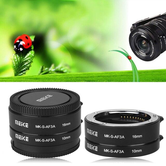 MEIKE MK S AF3A otomatik odak makro uzatma tüpü seti 10mm + 16mm Sony E/FE NEX3 NEX5 NEX6 NEX7 A5000/A6000/A7/A7M2 serisi