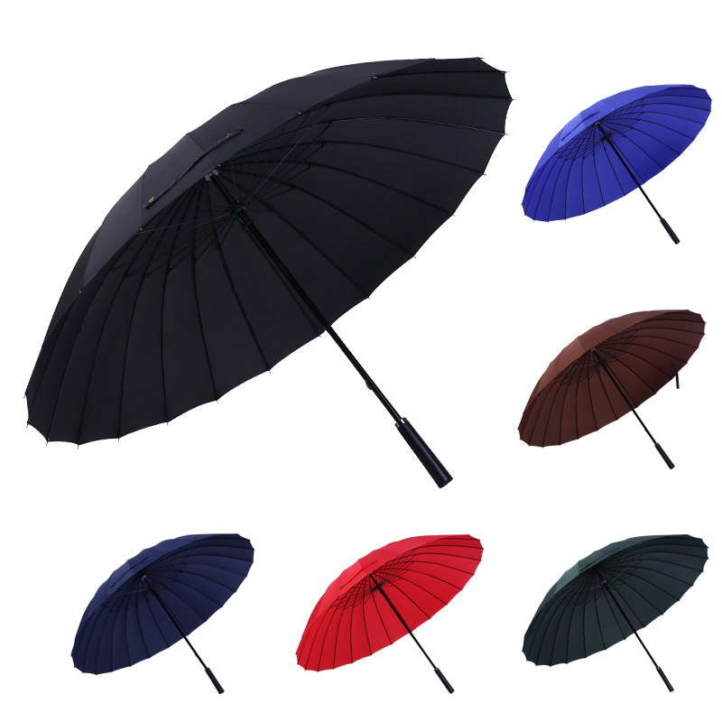 Umbrella Manufacturers 24 Bone Extra-large Umbrella 2-3 People Use Men Shang Wu San Reinforced Windproof Straight Umbrella Whole