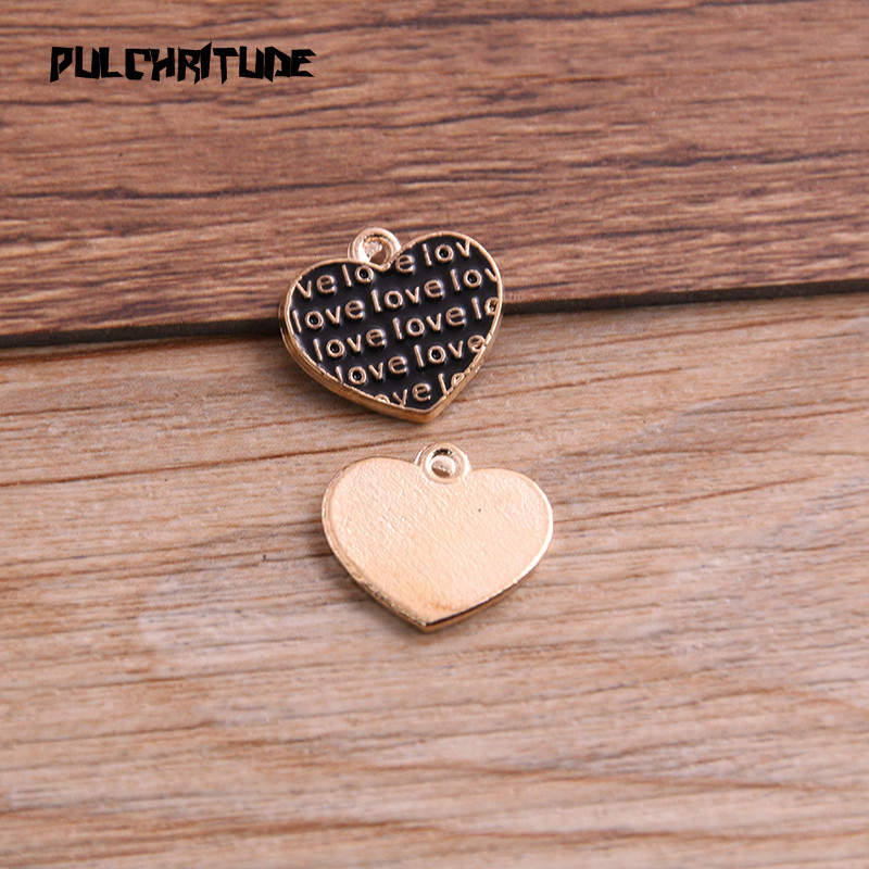 6pcs oil drip Heart Alloy Charms Pendant Jewelry Finding DIY Fit Earring Making