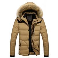 Men Jacket Winter New Male Casual Hooded Outwears Coat Warm Fur Parka Overcoat Men's Solid Thick Fleece Zipper Jackets 2019