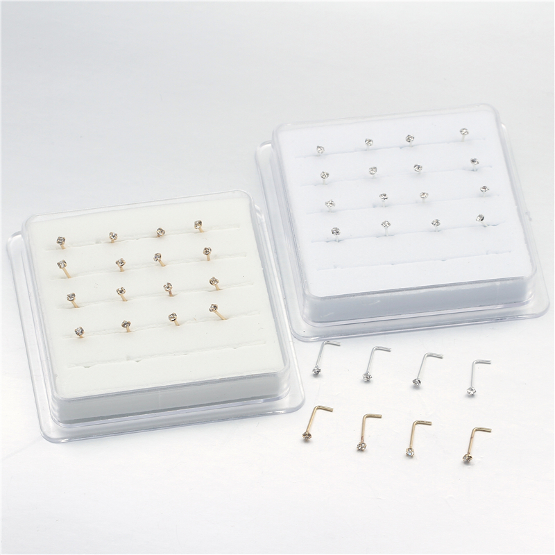 20PCS/Box  Sterling  L Shape Nose Stud Ring 2mm Clear Crystal Nose Piercing Body Jewelry-1