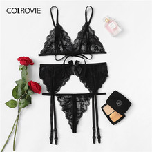 COLROVIE noir festonné garniture dentelle jarretière Lingerie ensemble femmes 2019 pure Sexy ensembles Triangle soutien-gorge et tongs dames ensemble de sous-vêtements(China)