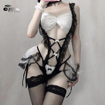 Japońska pokojówka seksowne stroje Cosplay perspektywa bielizna bielizna sługa klasyczny erotyczny koronkowy strój Babydoll seksowny strój tanie i dobre opinie LILICOCHAN CN (pochodzenie) Kostiumy Akrylowe spring 2020