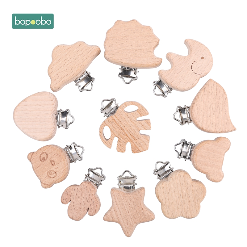 Bopoobo 1pc Silicone Pacifier Clip Beech Wooden Baby Pacifier Clips Dummy Clips DIY Pacifier Chain Accessory Charms For Baby