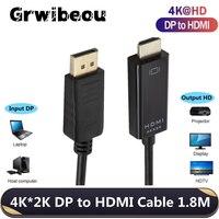 Cable DP a HDMI de 1,8 M, compatible con 4K x 2K, puerto de pantalla a HDMI para PC, portátil, HDTV, proyector de Audio y vídeo, DisplayPort a HDMI