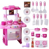NFSTRIKE 23Pcs Children Pretend Play Kitchen Table Set Kitchen Appliance Cooking Play Set Toy Kitchen with Music Light