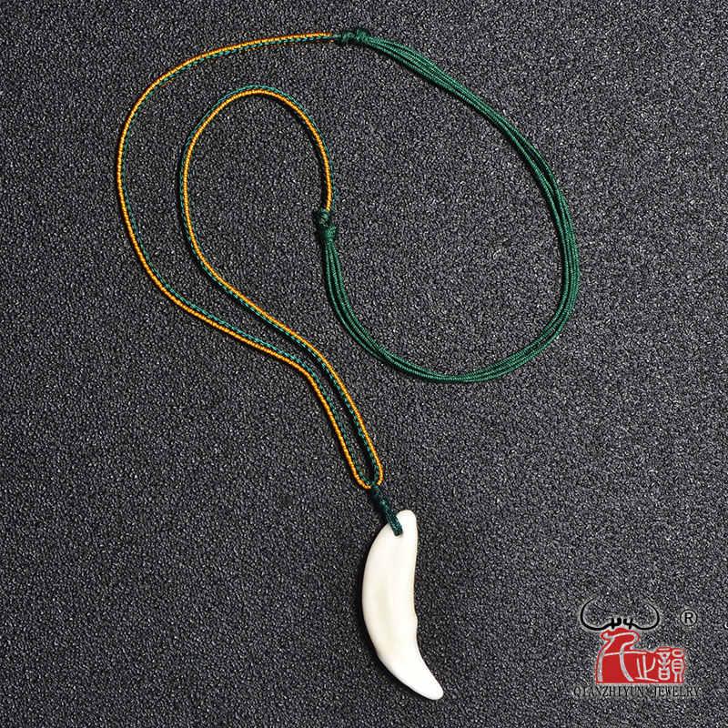 Naturalne kości naszyjnik moda proste punk akcesoria męskie prawdziwe zęby wisiorek tybetański Amulet kły biały wilk zębów uroku