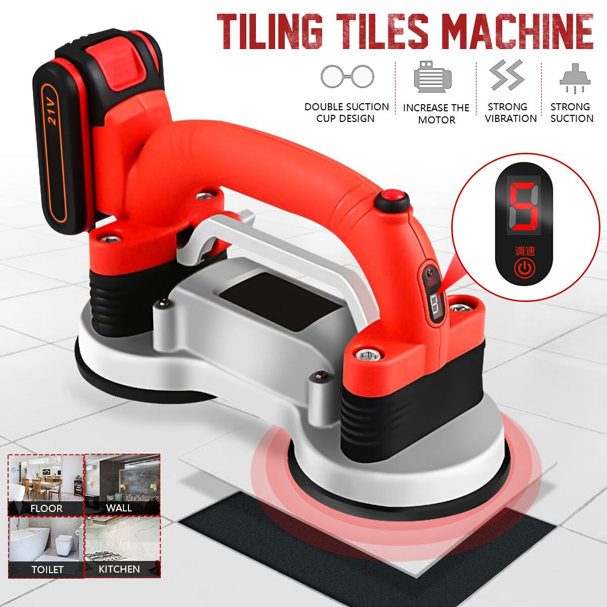 Tiling Tiles Machine 60-120mm Tiles Vibrator Suction Cup Adjustable Protable Automatic Floor Vibrator Leveling Tool With Battery
