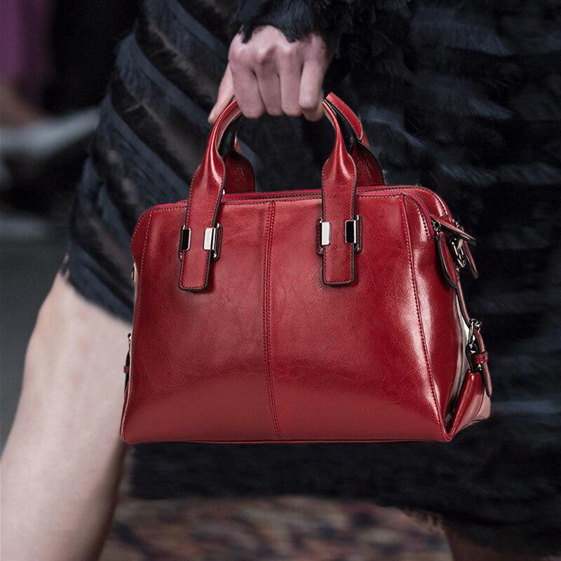 Women Shoulder Bag 100 Genuine Leather Black Handbag Lady Casual Tote Purse Bags Female Designer Ladies