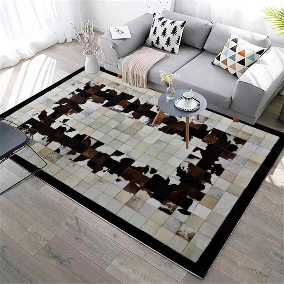 Imitación alfombra piel de vaca moderna nórdica de lujo a cuadros alfombra de piel falsa sala de estar decoración Animal alfombras de piel dormitorio al lado de la alfombra