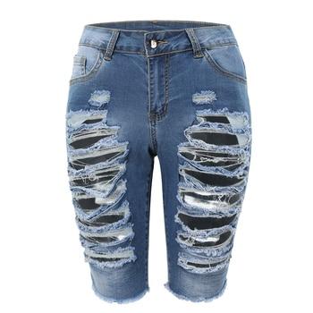 Delle Donne Aumento Medio Elastico Denim Shorts di Lunghezza Del Ginocchio Curvy Bermuda Breve Tratto Jeans 1