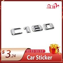 3D Chrome Car Model Refitting Badge Sticker Car Trunk Rear Emblem Badge Chrome Letters For Mercedes C Class C180 C200 C220