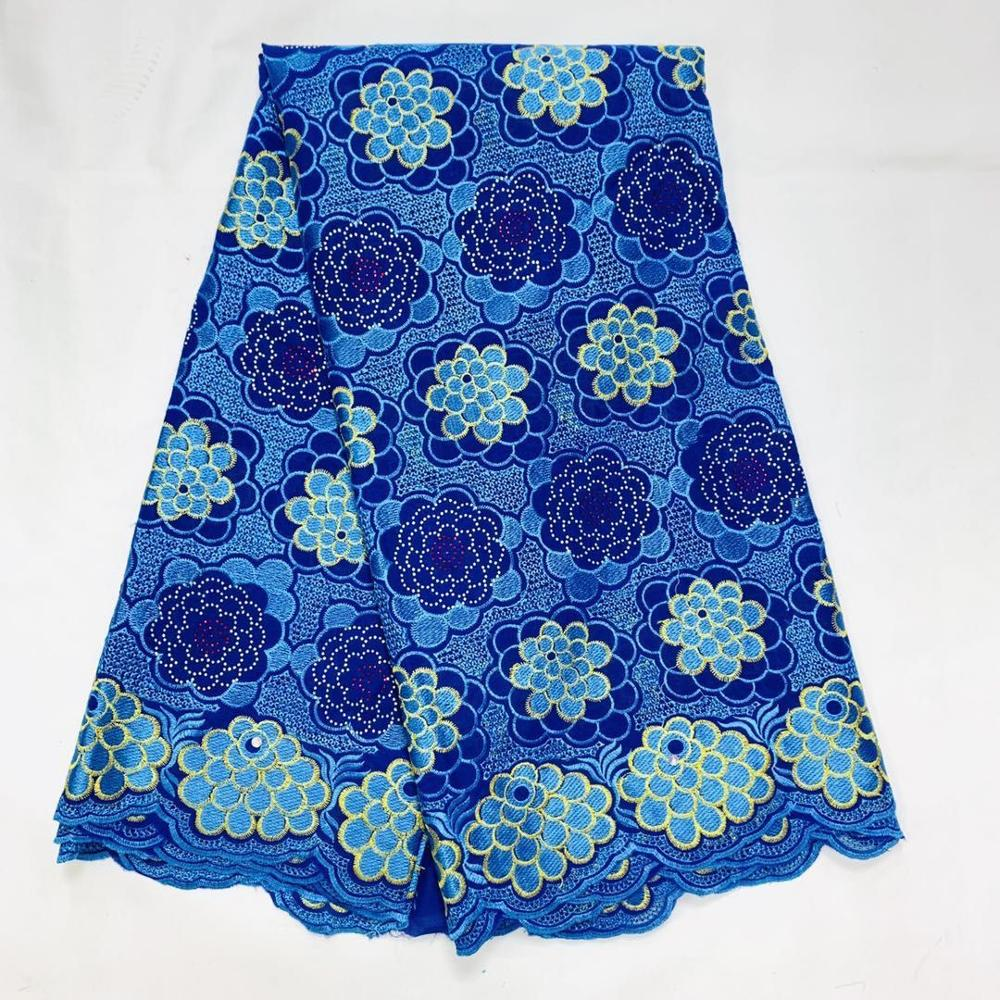 Blue African Cotton Lace Fabric 2020 High Quality Lace Tulle Cotton Embroidery Lace Fabrics With Stones Ankara Materials Tissu