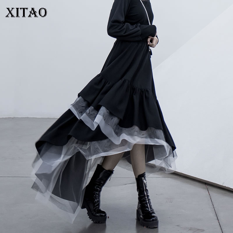 XITAO Tide Personality Plaid Mesh Skirt Patchwork Irregular Women Clothes 2020 Fashion Korean Loose Elastic Waist Skirt XJ3506