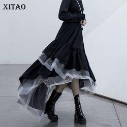 XITAO Tide Personality Plaid Mesh Skirt Patchwork Irregular Women Clothes 2020 Fashion Korean Loose Elastic Waist Skirt XJ3506
