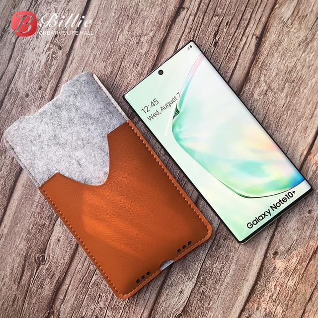 Torba na telefon, do Samsung Galaxy Note10 Plus 6.8 ultra cienki ręcznie wełniany filcowy pokrowiec na telefon do Galaxy Note10 Plus akcesoria