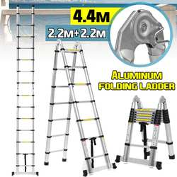 4,4 м 14.5Ft телескопические лестницы алюминиевая складная лестница двойного назначения елочка лестница Многофункциональный один удлинитель ...