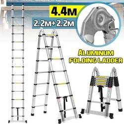 4.4 M 14.5Ft Telescopische Ladders Aluminium Vouwladder Dual-Gebruik Visgraat Ladder Multifunctionele Enkele Extension Gereedschap