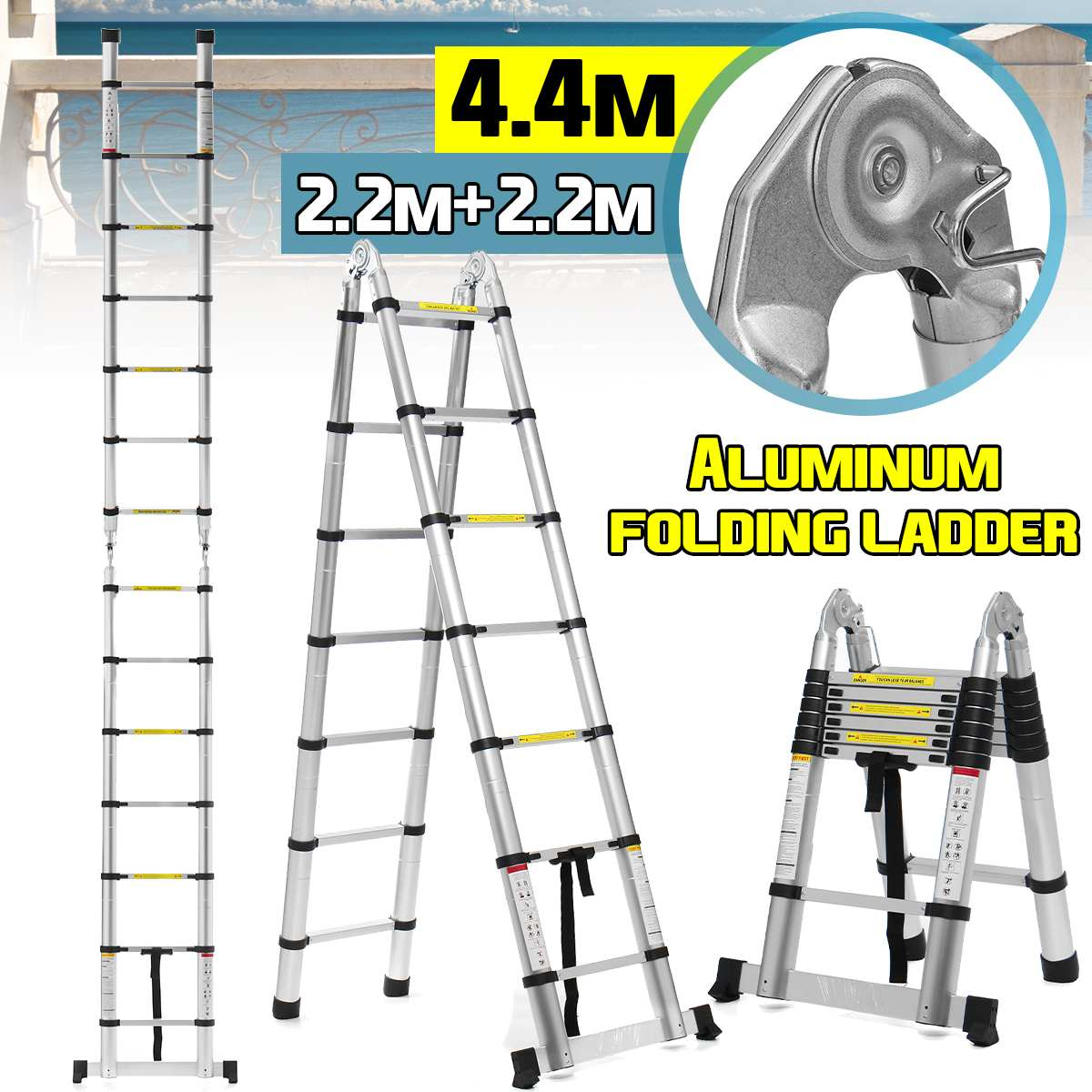 4.4m 14.5Ft Telescopic Ladders Aluminium Folding Ladder Dual-Use Herringbone Ladder Multifunctional Single Extension Tools