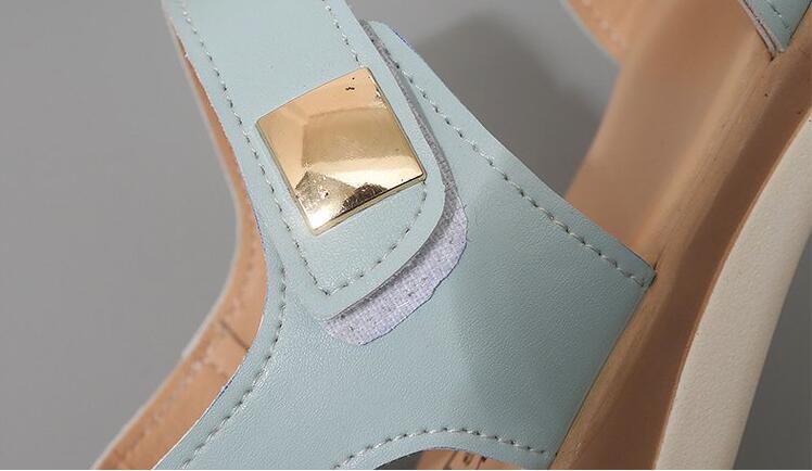 H3337800780bc458dad36063eac3e6dbd4 Summer Women Sandals platform heel Leather hook loop metal Soft comfortable Wedge shoes ladies casual sandals V284