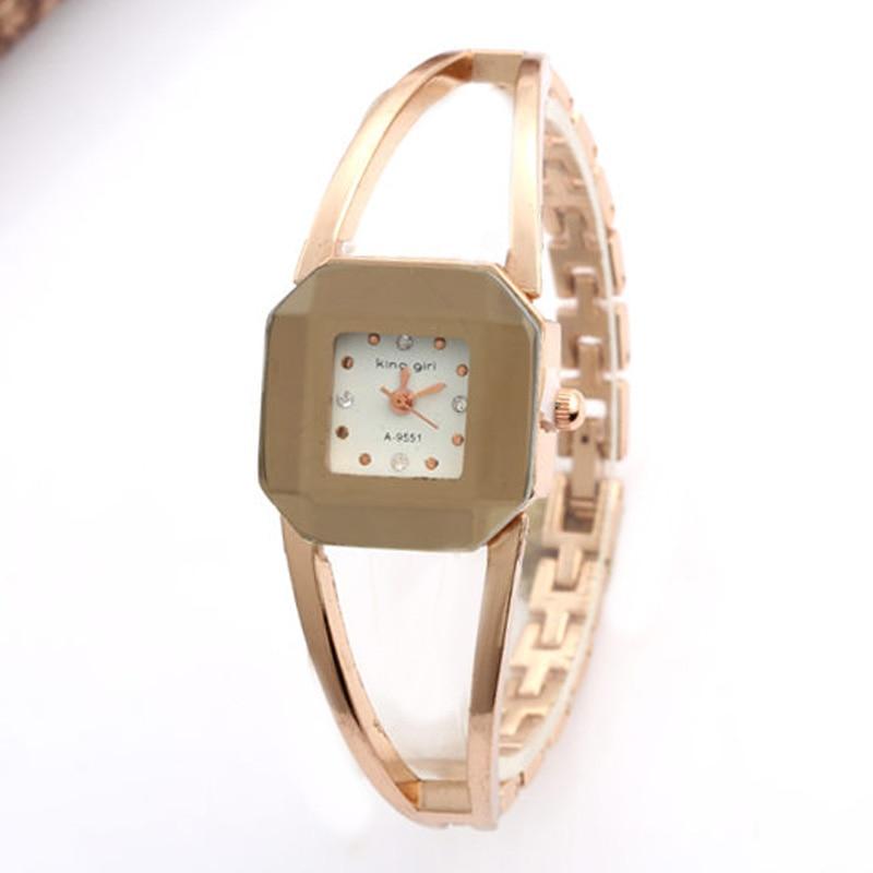 Fashion Square Women Watches Rose Gold Luxury Bracelet Bangle Quartz Clock montre femme reloj mujer