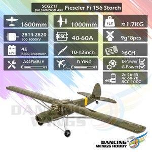 2020 nuevo SCG21 Fieseler Storch Fi156 1600mm (63) Balsa Storch Balsa ARF PNP RC avión película que terminar