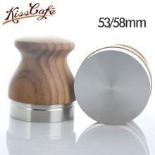 Wooden Coffee Tamper 58mm Dalbergia Odorifera Handle Powder Hammer Adjustable Stainless steel Flat Bae Espresso Tools