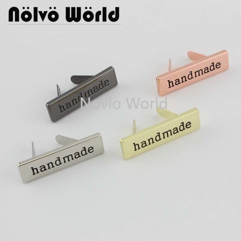10-50 Pieces,4 Finish 36X10mm Decorative Handmade Label For Purse Handbag Sewing,Bag Metal Labels