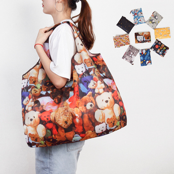 Reusable Shopping Bags Foldable Large Size Shopping Bags Totes Heavy Duty Washable Cloth Grocery Bags Eco-Friendly Ripstop 1