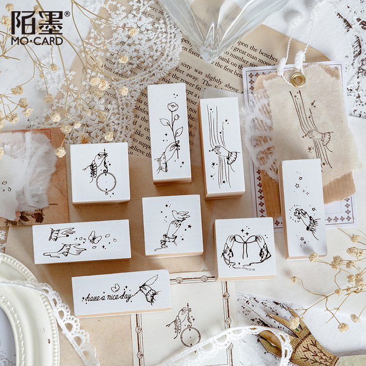 1Pcs\DIY Cute Creative Fun Personality Vintage Wood Stamp Seal Diary Calendar Scrapbook Student Stationery Office Supplies