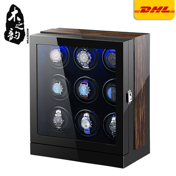 Automatic Watch Winder Box 9 Slots Mechanical Display Wooden Watch Accessories With Silent Motor And Plug auto wooden watch winder storage box winder shaker case transparent cover wristwatch box single double head motor with us plug