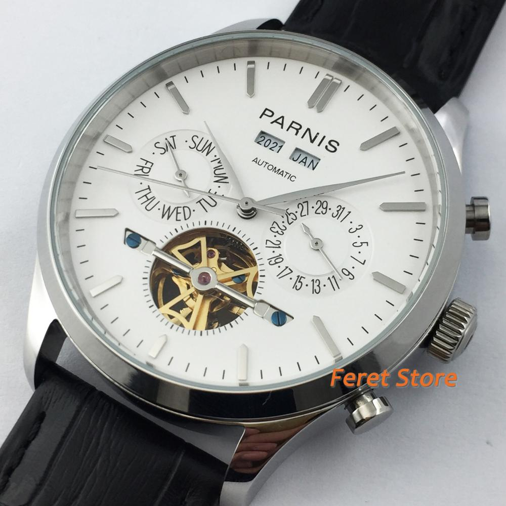 2020 Parnis new 43mm white dial Silver stainless steel case Leather strap date week year mens top flywheel automatic men watch