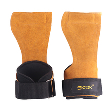 SKDK Anti-Skid Cowhide Weight Lifting Training Gloves Women Men Workout Sport Body Building Fitness Gym Hand Palm Protector Grip