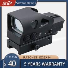 Vector Optics Ratchet 1x23x34 Multi 4 Reticle Red Dot Scope Weapon Reflex Sight Hunting AR AK 12ga Firearms Solid Shock Proof