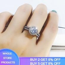 YANHUI 925 Silver White 6mm Zirconia Diamond Rings for Women Luxury Pure Natural Topaz Gemstone 925 Jewelry Engagement Ring R090