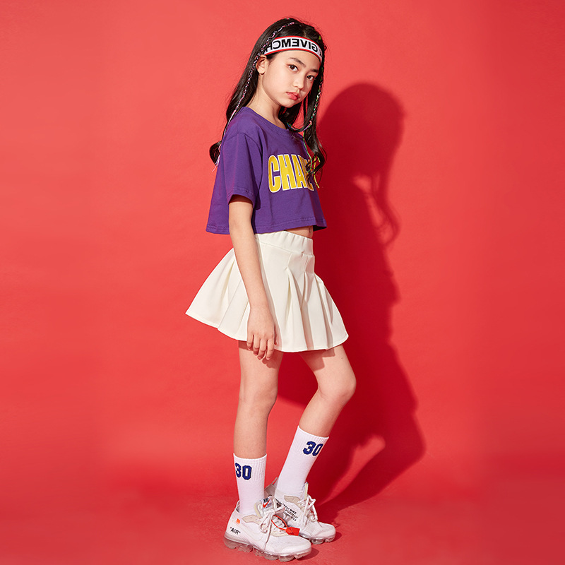 New Style Girls Hip Hop Jazz Navel Loose Short Sleeve Hip Hop Children White Dress Jazz Dance Performance Clothing Summer