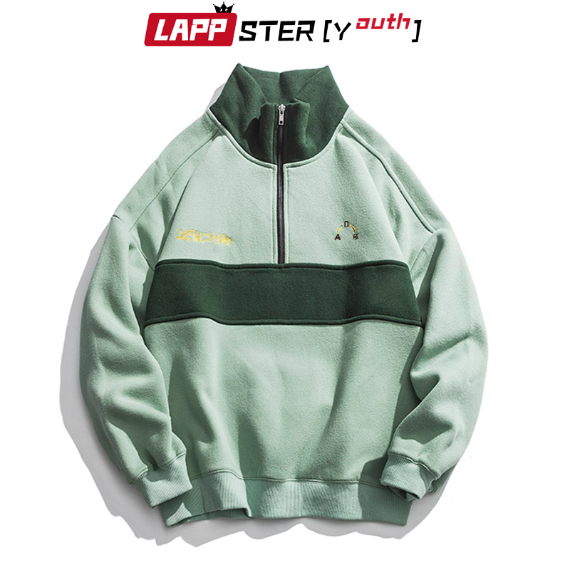 LAPPSTER-Youth Harajuku Patchwork Turtleneck Hoodies 2020 Pullover Mens Color Block Korean Fleece Sweatshirts Streetwear Clothes