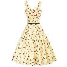 Платье женское ТРАПЕЦИЕВИДНОЕ с поясом, повседневное Расклешенное мини-платье с принтом вишенок, с вырезом сердечком, на лето