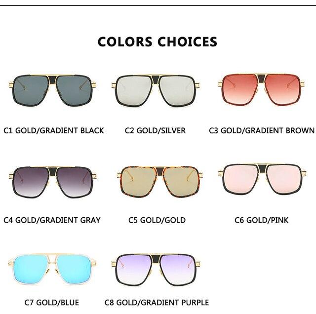 Gafas de sol clásicas de lujo para hombre, lentes de sol de marca a la moda, lentes de sol para dama, lentes de espejo Retro, diseño cuadrado Vintage 4