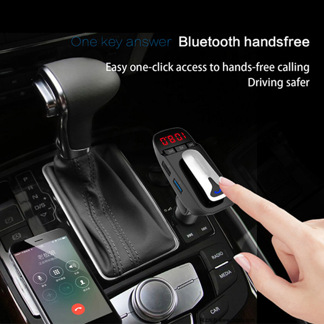 ER9 car Bluetooth kit handsfree FM transmitter wireless Bluetooth headset can detect battery voltage car charger with headphones