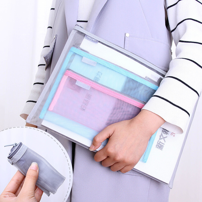 Presentation Folder Clear Grid File Bag Portable Pen Bags Office Organizers File Folder A4,A5,A6 File Organizer With Zipper