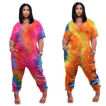 Plus Size Women's Clothing Sexy V Neck Personality Tie Dye Printing Fashion Street Wear Short Sleeved Casual Loose Jumpsuit