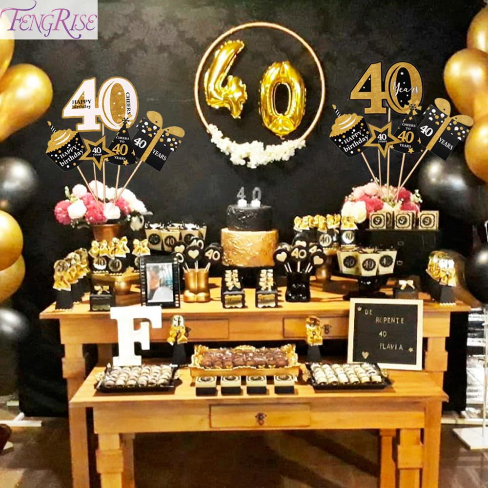 FENGRISE Black Gold Photo Booth Props 30 40 50 <font><b>Birthday</b></font> Photobooth Props 30th 40th <font><b>50th</b></font> Wedding Anniversary Party <font><b>Decorations</b></font> image