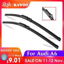 KAWOO For Audi A6 C5 C6 C7 4F From 1997 To 2017 Auto Car Wiper Blades Natural Rubber Fit U Hook/Slider/Claw/Push Button Arms