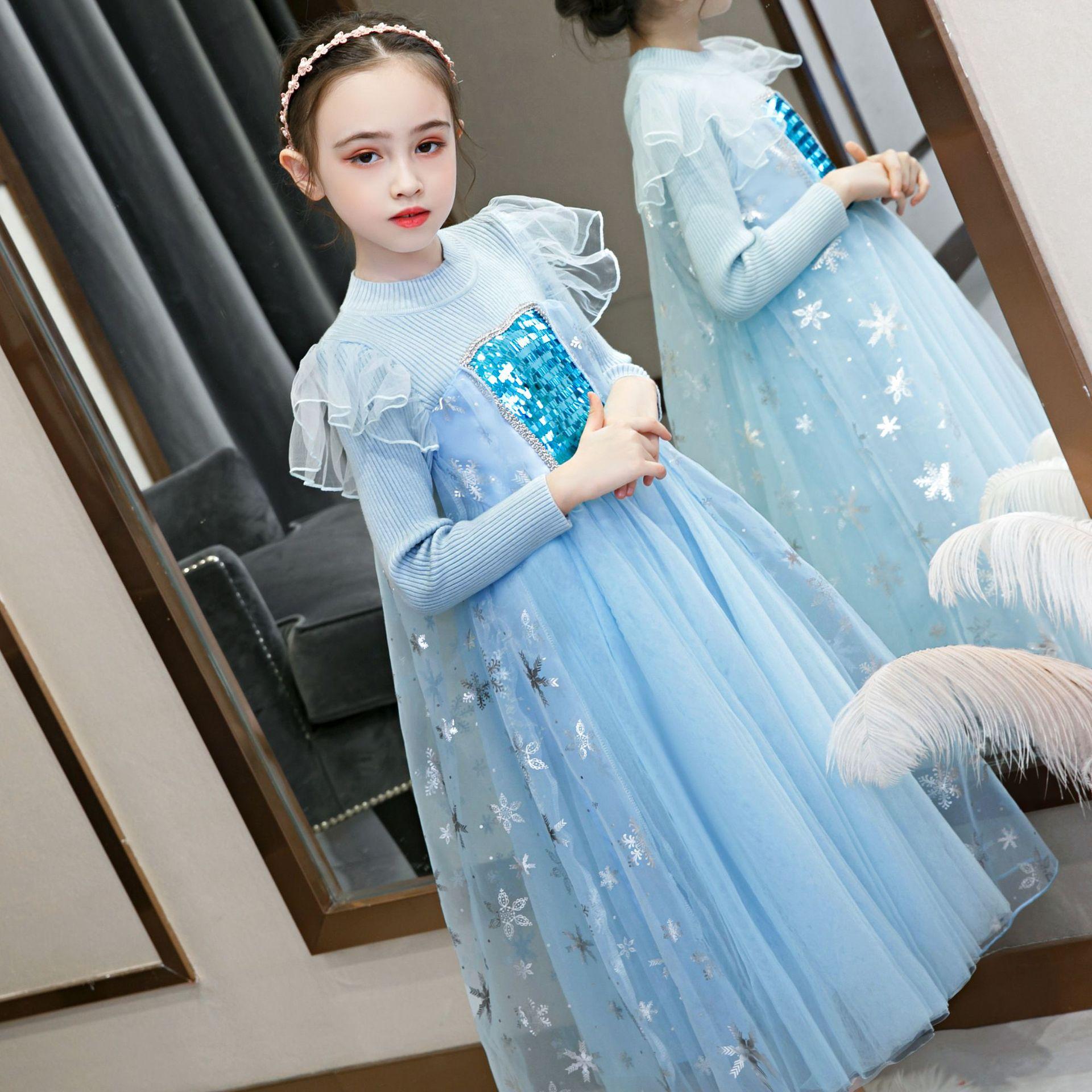Kids Girls Elsa Princess Carnival Long Sleeve Dress Carnival Cosplay Costume