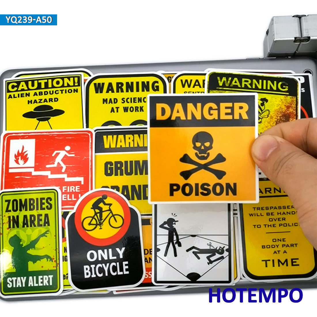 50pcs Funny Traffic Warning Signs Spoof Stickers For Mobile Phone Laptop PAD Case Luggage Skateboard Bike Car Moto Decal Sticker