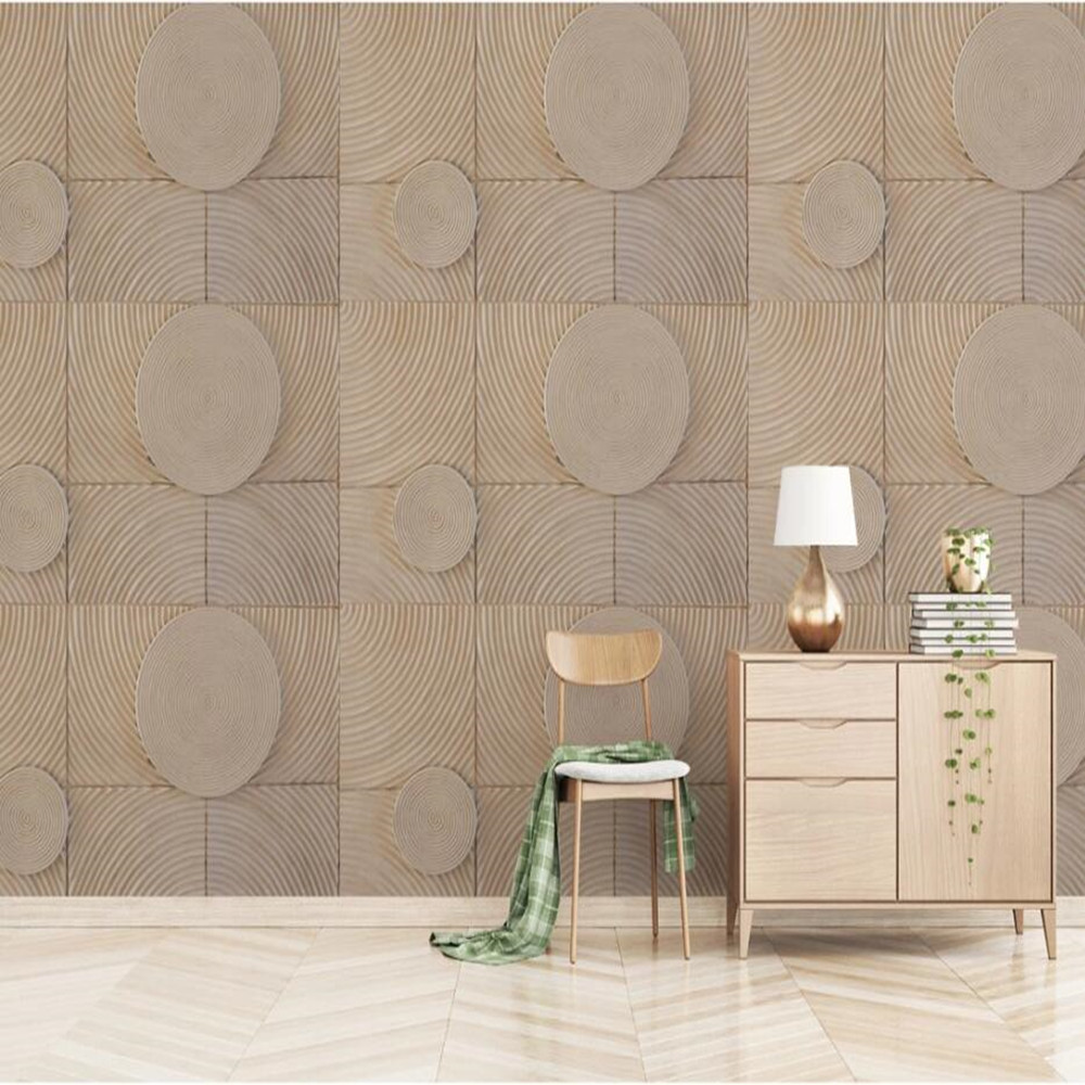 Milofy Custom 3D Modern Geometric Round Wood Grain Background Wallpaper Mural